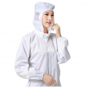 Reusable Unisex Workwear Coverall Isolation Gown Protective Suit Hood Overall White Clothing