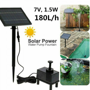 Solar Powered Panel Pump 180L/H Submersible Fountain Garden Pond Water Feature