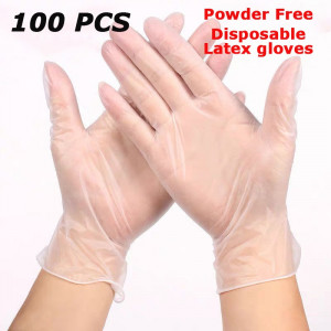 100Pcs Latex Gloves Disposable Medical Waterproof Clear Protective Hand Glove for Cooking Cleaning Food Preparation