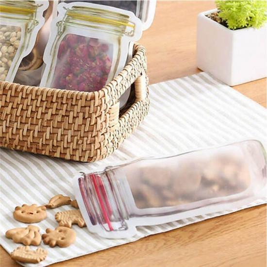10 Pcs Mason Jar Zipper Bags Food Storage Snack Sandwich Ziplock Reusable Seal