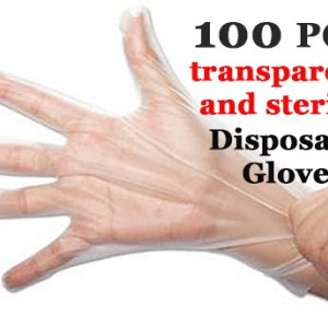 100Pcs Plastic Gloves Disposable Medical Waterproof Clear Protective Hand Glove for Cooking Cleaning Food Preparation