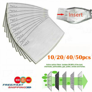 10/15/30/40PCS PM2.5 Mask Replacement Core Activated Carbon Filter Insert Face Cover For Kids