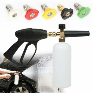 High Pressure Washer Snow Foam Spray Gun Lance Car Wash Bottle & 5 Nozzle Tips