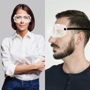 Glass Goggles Work Lab Eye Protection Transparent Adjustable Headband