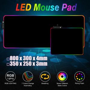 Large Gaming Keyboard Mouse Pad RGB LED Lighting Soft Non-slip Laptop Mouse Mat